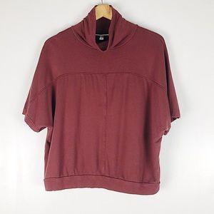 Prologue Burgundy Cowl Neck Sweater Tee Sz L
